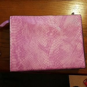 Purple Faux Snakeskin Clutch Makeup Bag